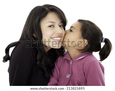 This little daugther give a kiss to her mother they love each other