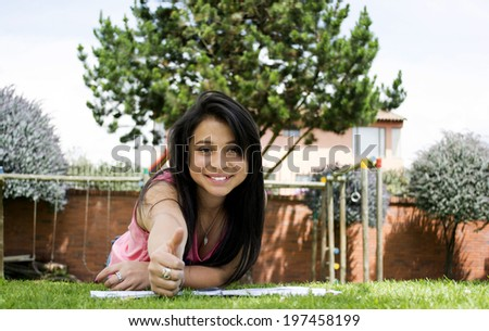 This little smile and give us a good job with her thumb - stock photo