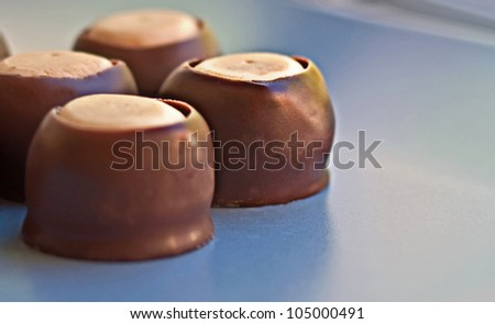 This macro dessert food image is a chocolate peanut butter candy, cookie known in the South as Buck Eyes.  Plenty of room for text in this horizontal orientation. - stock photo