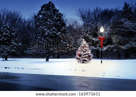 This magically lit Christmas Tree glows brightly on a snow covered Christmas morning in this rural Holiday Scene. - stock photo