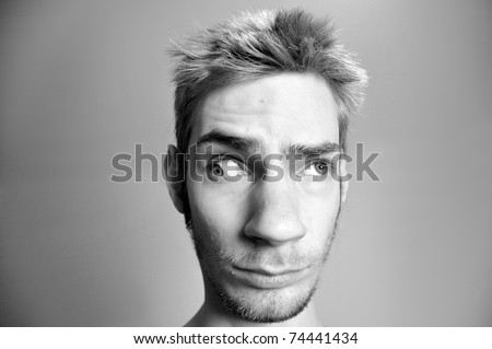 This man has serious problems with his eyes. How can he see with clear vision? - stock photo