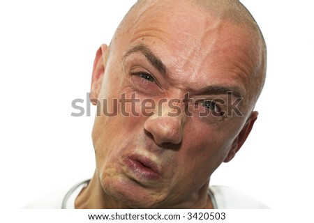 This man is very angry, he's raged. Expressive emotion. - stock photo