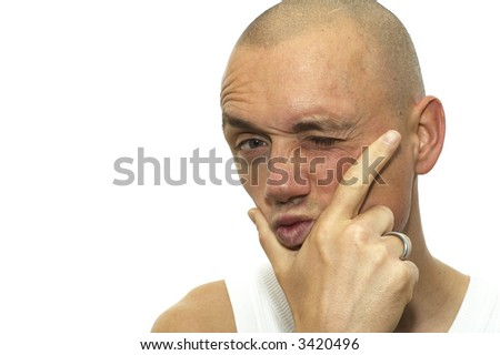 This man really doesn't believe what you're saying. - stock photo
