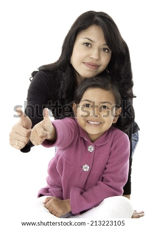 This mother and daugther give us a good job whit their thums - stock photo