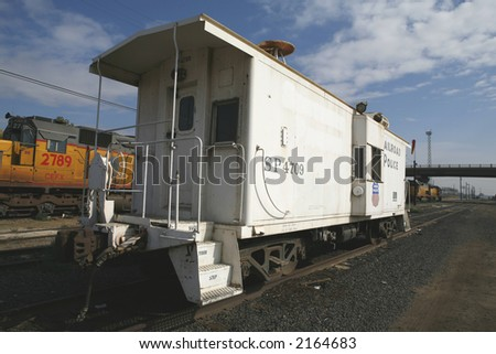 This old caboose was once used to house railroad police - stock photo