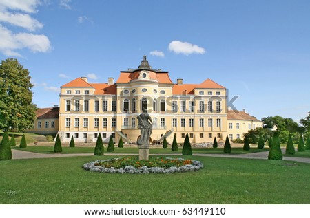 This palace was restored to its former glory. This is a wonderful view of the palace in Rogalin in Poland (Europe) from the park.  - stock photo