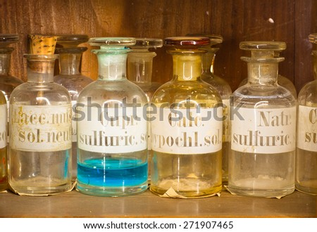 this pharmacy museum in 1730 Trademarks are very old and long lost relevance in our time - stock photo