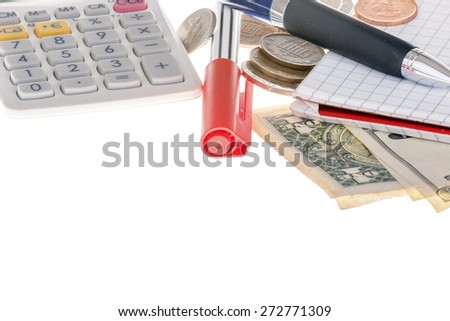 This photo shows a closeup of calculator, marker, banknotes, coins and paper on white background.