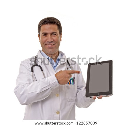 This photo shows a doctor holding a tablet , isolated on white background.