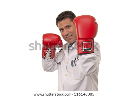 This photo shows a doctor wearing boxing gloves on a defense position,  isolated on white background.