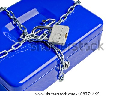 This photo shows a safe locked in chains.