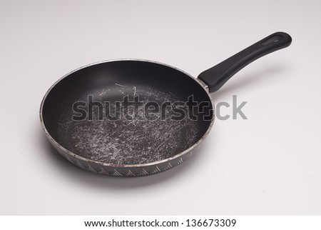 This photo shows an used skillet. - stock photo