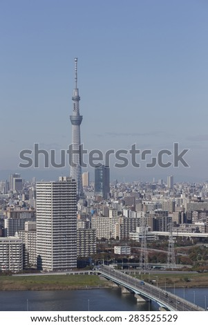 This photo was shot from Tokyo city which is the capital city of Japan. - stock photo