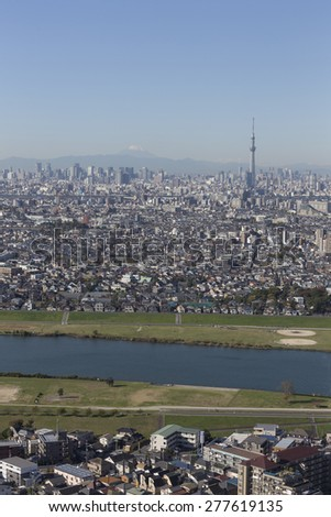 This photo was shot from Tokyo city which is the capital city of Japan. Tokyo is one of the big and busy city in the world but aslo the most beautiful. The japanese also nice. - stock photo