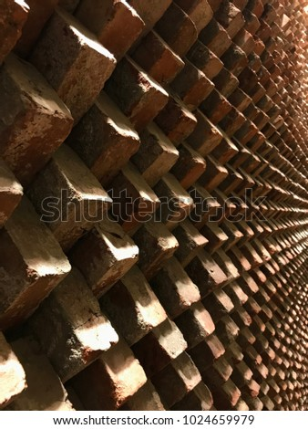This picture is a three-dimensional wall with bricks. There is an interior effect that produces various scenes according to the angle of view with one material.