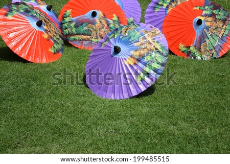 This picture is colorful of art umbrella at thailand - stock photo