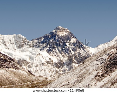 This picture of Mt. Everest was taken from Gokyo's 5th Lake. - stock photo