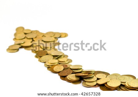 This picture represents growing arrow from coins showing investment rise