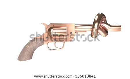 This picture shows a revolver with a knot shaped barrel that stops bullets. Disarm and peace concepts. - stock photo