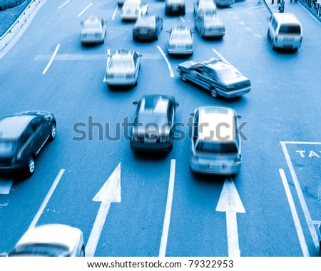 This picture was shot in peak hour traffic. - stock photo