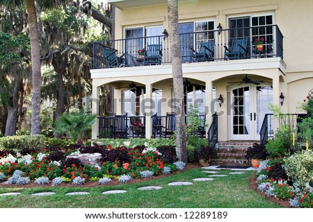 This prestigious home faces the world-famous golf course in Harbor Town, Hilton Head Island, SC - stock photo