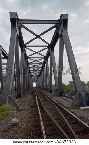 This railway bridge (Noordlandbrug)  in Belgium spans the Scheldt-Rhine Canal near the port of Antwerp. - stock photo