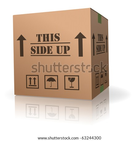 this side up package cardboard box with text shipment storage or delivery packet from online order - stock photo