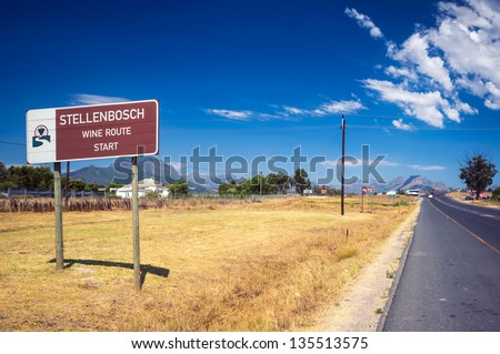 This sign marks the beginning of the new Stellenbosch American Express Wine Routes that  represent more than 200 wine and grape producers - stock photo