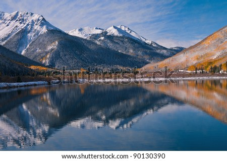 This single exposure image was taken at Crystal Lake on Red Mountain Pass between Ouray and Silverton, Colorado. - stock photo