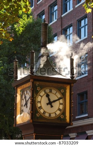 This steam clock, in downtown Vancouver's historic Gastown district, is a popular tourist attraction. British Columbia, Canada - stock photo