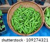 This stock image is a basket of fresh, organic sugar snap peas with other potted plants and more peas nearby on a blue tablecloth. - stock photo