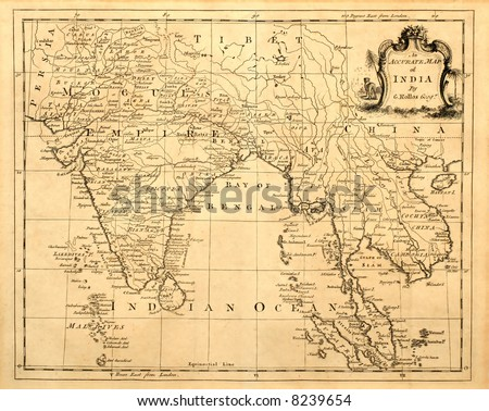 This vintage map of India and Southeast Asia was printed in 1750. - stock photo