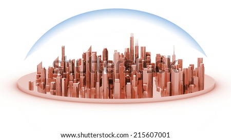This white model of a city shows the distribution of neighborhoods - stock photo