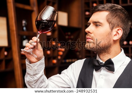 This wine is just perfect. Confident male sommelier examining glass with wine while standing near the wooden shelf