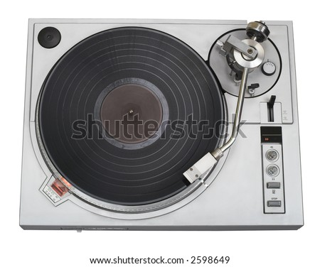 This 20-years old turntable is stylish now as before. There is a disk with blank label. You can put your logo and text on it. Clipping path included. - stock photo