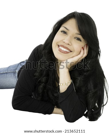 This young lady is land on the floor she is smiling. - stock photo