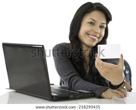 This young lady show us her credit card, she is buying online - stock photo