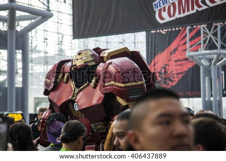 Thomas DePetrillox, dressed as Iron Man Hulkbuster, walks through the crowd at the 10th Annual New York Comic Con, at Jacob Javits Center, on October 8, 2015 (day 1), walking through the crowd.