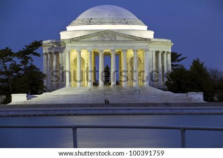 Thomas Jefferson Memorial at sunset - Washington DC - stock photo