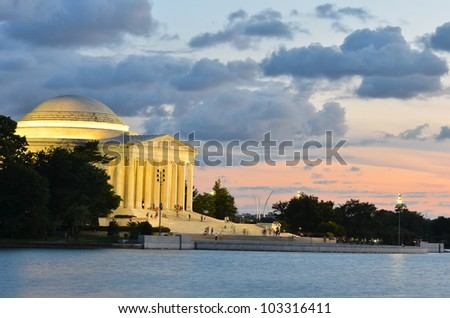 Thomas Jefferson Memorial at sunset, Washington DC United States - stock photo
