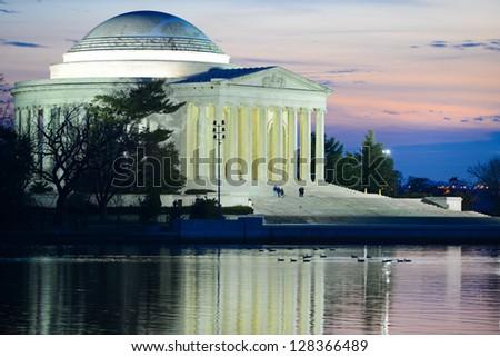 Thomas Jefferson Memorial at sunset - Washington DC United States - stock photo