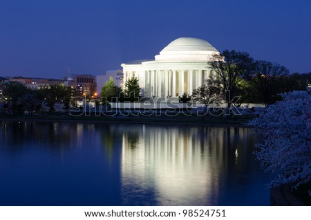 Thomas Jefferson Memorial during cherry blossom festival  at night,  Washington DC United States