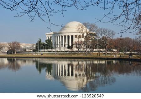 Thomas Jefferson Memorial in winter - Washington DC, United States - stock photo