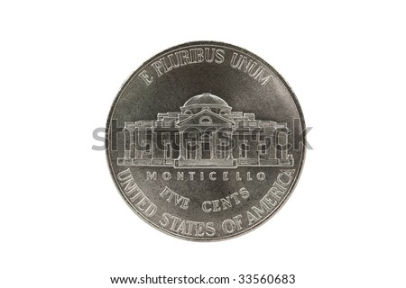 Thomas Jefferson nickel coin reverse with clipping path. - stock photo