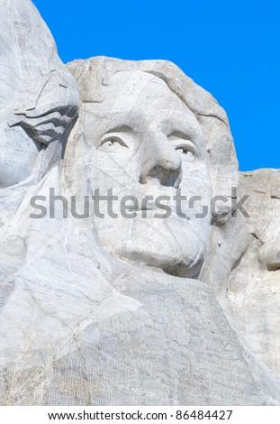 Thomas Jefferson on Mount Rushmore - stock photo