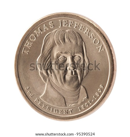 Thomas Jefferson Presidential Dollar coin with clipping path - stock photo