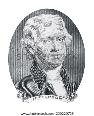 Thomas Jefferson. Qualitative portrait from 2 lucky dollars banknote in white background - stock photo
