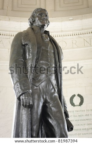 Thomas Jefferson Statue in the Jefferson memorial in Washington, D.C. - stock photo