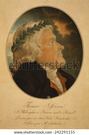 Thomas Jefferson, wearing laurel crown. Aquatint portrait after painting by Jefferson's friend, Polish patriot and war hero Thaddeus Kosciusko (Tadeusz Kosciuszko). Ca. 1799 - stock photo