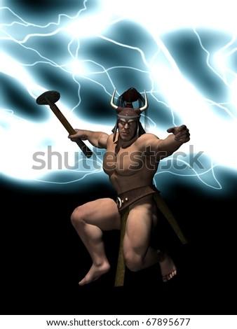 Thor god of thunder - stock photo